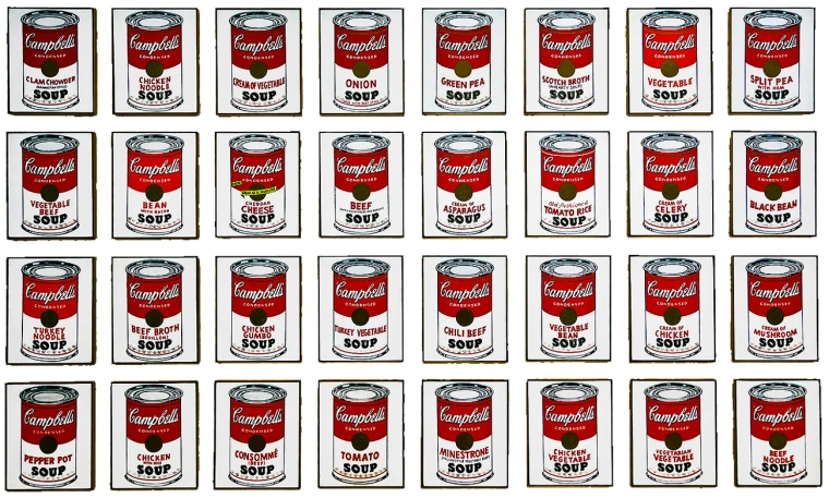 Andy Warhol, Campbell's Soup Cans, 1962, Museum of Modern Art. Acquired through the Lillie P. Bliss Bequest, New York, NY