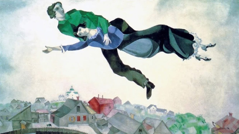 Marc Chagall, Sopra la città, 1918, Olio su tela di 56 x 45 cm. Galleria Tretyakov