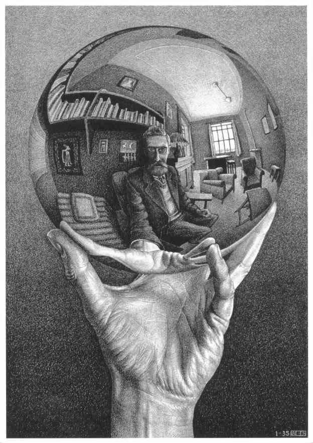 Escher_mano-con-sfera-riflettente_vita_opere_riassunto_due-minuti-di-arte