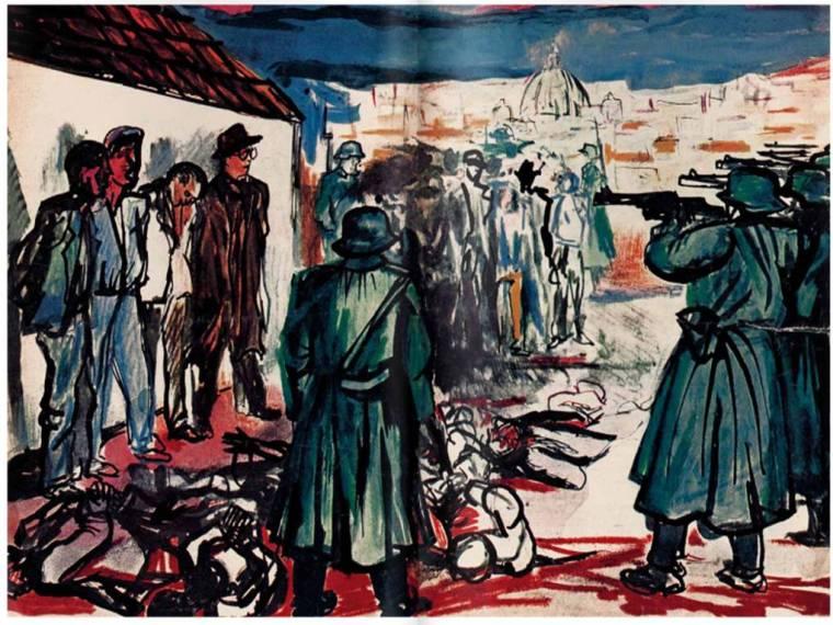 Renato Guttuso, Fucilazione a Roma, disegno