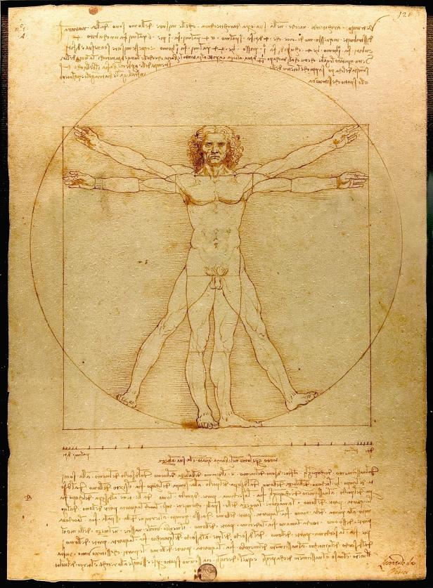 Leonardo da Vinci, Uomo vitruviano, 1490 circa, penna e inchiostro su carta, 34×24 cm, Gallerie dell'Accademia, Venezia