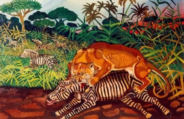 Antonio Ligabue, Leone che azzanna una zebra, 1950-1955