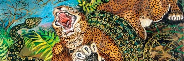 Antonio Ligabue, Leopardo assalito da un serpente