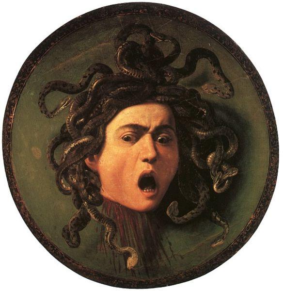 Caravaggio, Scudo con testa di Medusa, 1598 ca, olio su tela, 60×55 cm, Galleria degli Uffizi, Firenze