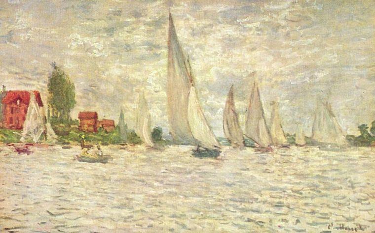 Claude Monet, Le barche, regate ad Argentouil 1874, olio su tela, 60×100 cm, Museo d'Orsay, Parigi