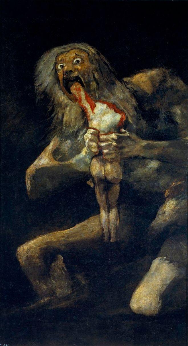 Francisco Goya, Saturno che divora i suoi figli, 1819-1823, olio su intonaco, 146×83 cm, Museo del Prado, Madrid