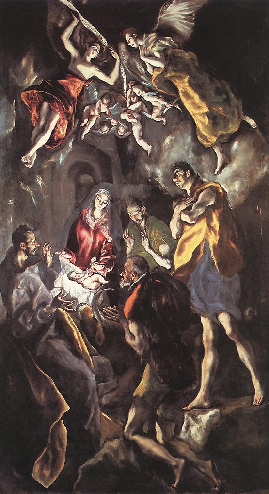 El Greco, Adorazione dei pastori, 1612, olio su tela, 320×180 cm, Museo del Prado, Madrid