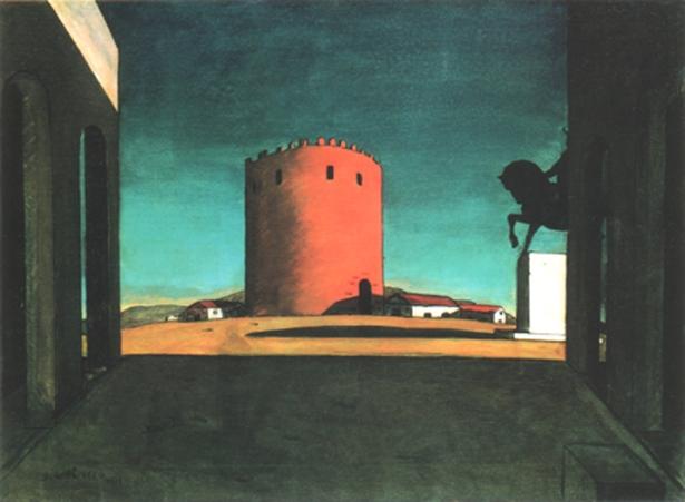 Giorgio de Chirico, La torre rossa, 1913, Collezione Guggenheim, Venezia