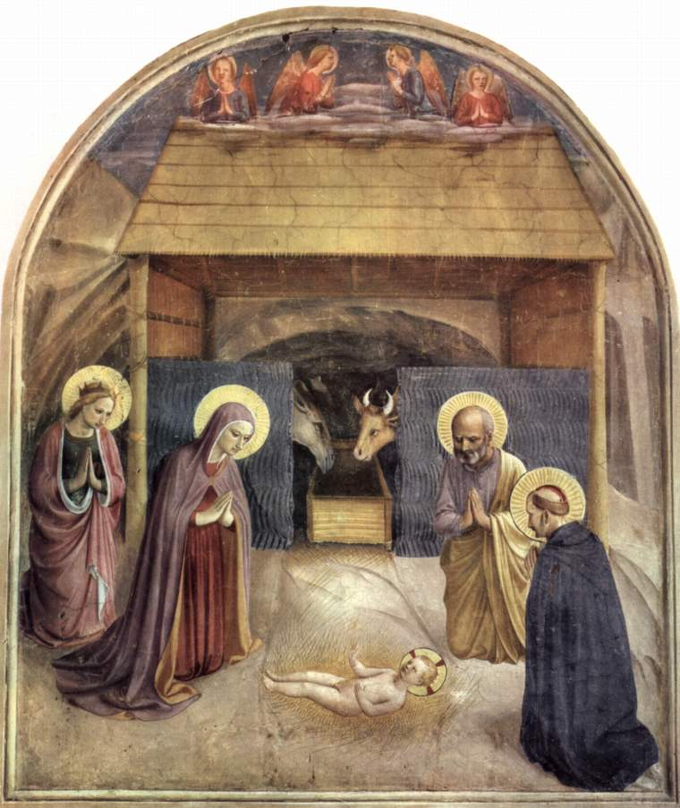 Beato Angelico, Adorazione del Bambino, 1440-1441 circa, affresco, 193×164,5 cm, convento di San Marco, Firenze