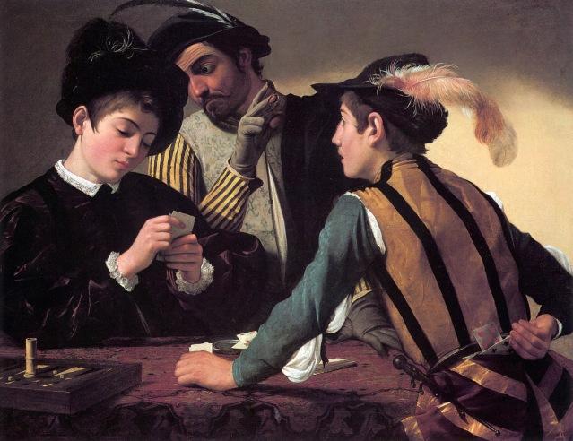 Caravaggio, I Bari, 1594, 94 × 131 cm, pittura ad olio, Kimbell Art Museum