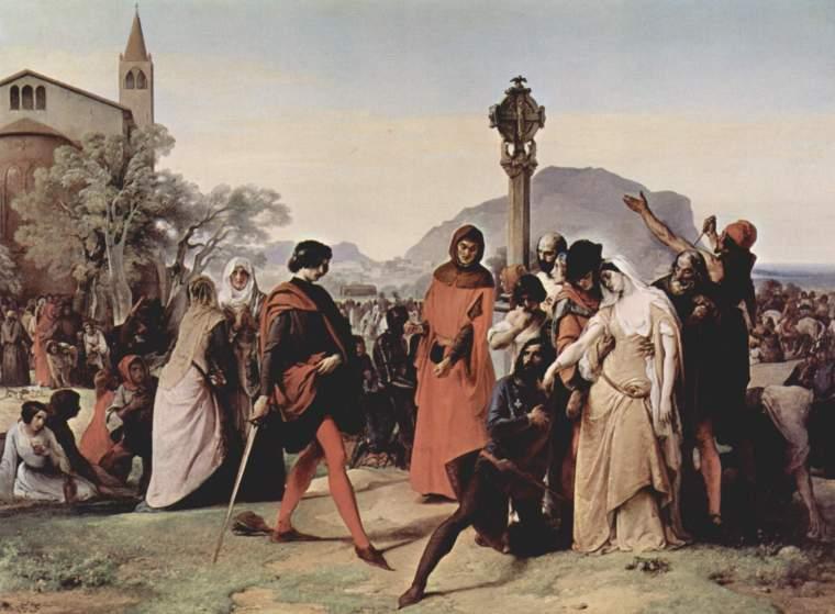 Francesco Hayez, Vespri siciliani, Scena 3 (1846) Galleria Nazionale d'Arte Moderna, Roma