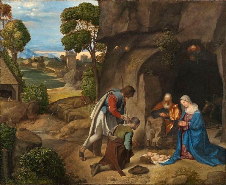 La Madonna. E molti dipinti sulla Natività da Samael. Giorgione_adorazione-pastori_natale_due-minuti-arte