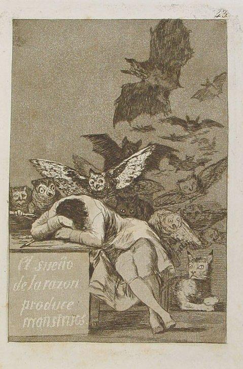 Francisco Goya, Il sonno della ragione genera mostri, 1797, acquaforte, 21,6×16,2 cm, Biblioteca Nacional de España, Madrid