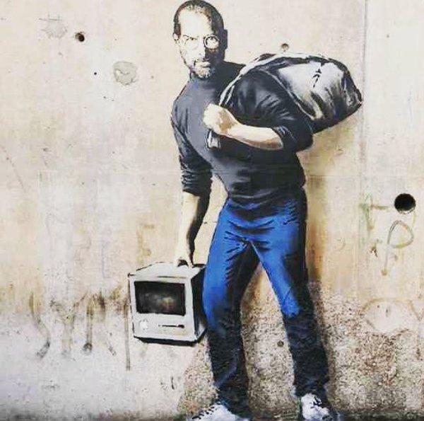 Banksy_Steve-Jobs_calais_vita_opere_riassunto_due-minuti-di-arte