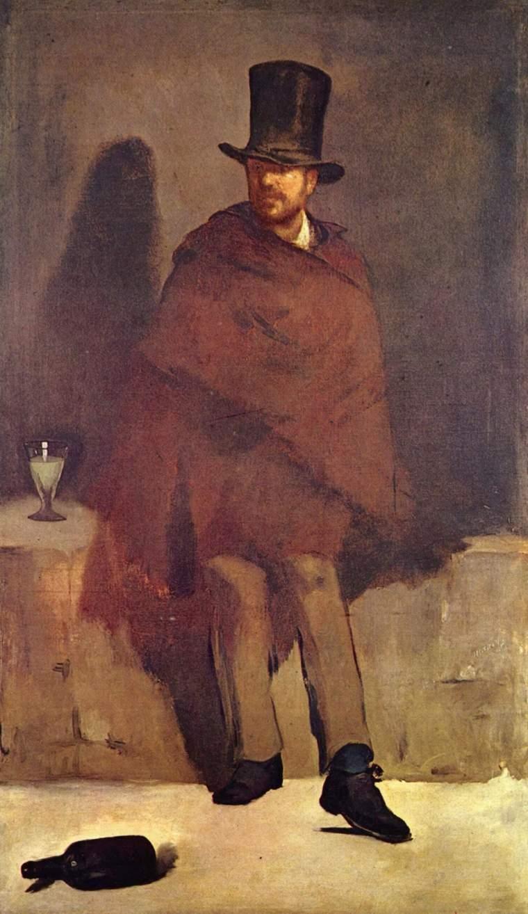 Édouard Manet, Il bevitore di assenzio, 1858-1858, olio su tela, 180,5×105,6 cm, Ny Carlsberg Glyptotek, Copenaghen
