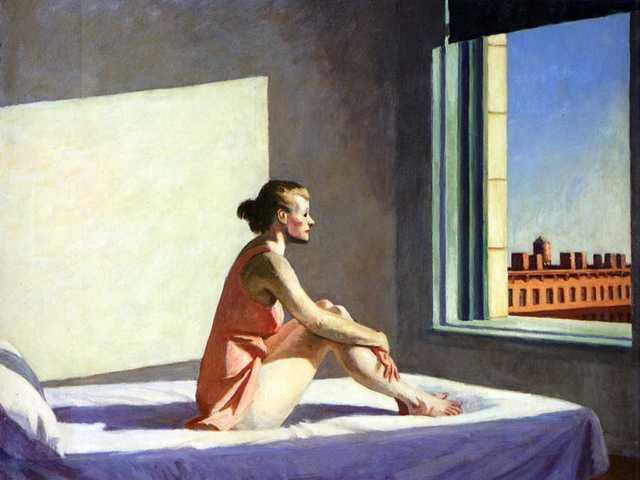 Edward Hopper, Morning sun - Sole di mattina, 1952, Olio su tela 71,4 x 101,9 cm. Columbus Museum of Art Ohio
