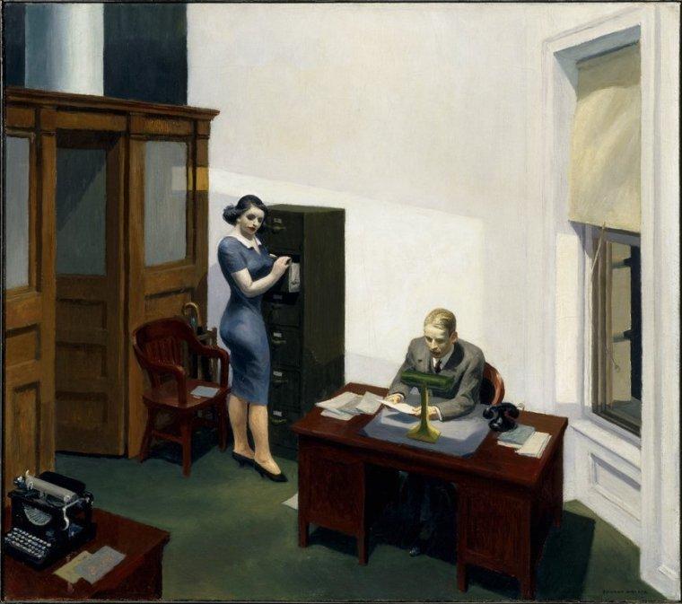 Edward Hopper, Office at night, 1940, olio su tela, Walker Art Center