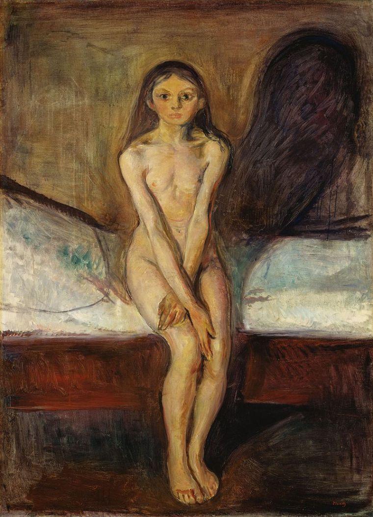 Edvard Munch, La pubertà, 1894-1895, olio su tela, 151,5×110 cm, Galleria nazionale, Oslo
