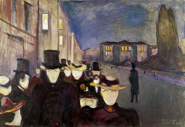Edvard Munch, Sera sul viale Karl Johan, 1892, olio su tela, 85,5×121 cm, Commune Rasmus Meters Collection
