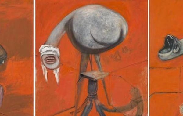 Francis Bacon, Three Studies for Figures at the Base of a Crucifixion (dettaglio)