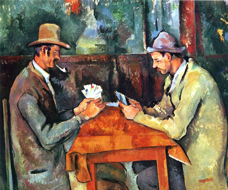 Paul Cézanne, I giocatori di carte, 1890-1898, olio su tela, 47,5×57 cm, Musée d'Orsay, Parigi; Barnes Foundation, Philadelphia; Metropolitan Museum of Art, New York; Courtauld Institute of Art, Londra; collezione privata