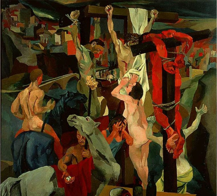 Renato Guttuso, Crocifissione, 1941, Olio su tela, 200×200 cm,Galleria Nazionale d'Arte Moderna, Roma