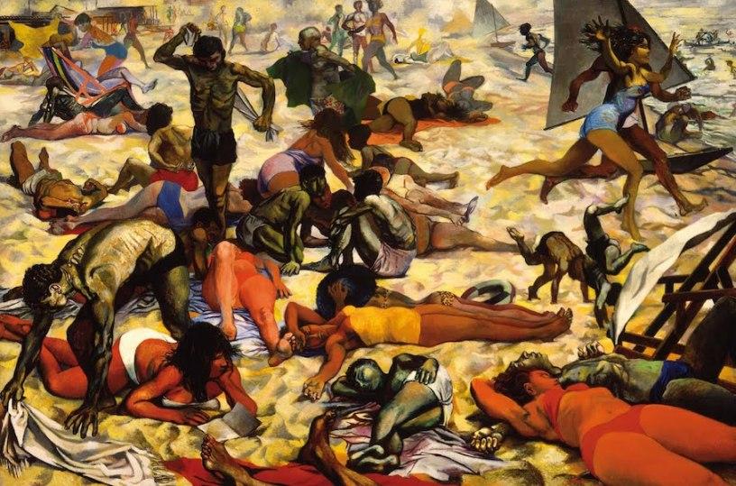 Renato Guttuso, La spiaggia, 1955-1956, olio su tavola, 301×452 cm, Galleria nazionale, Parma