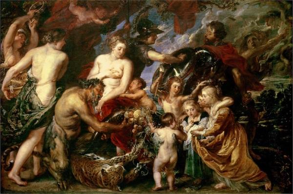 Peter Paul Rubens, Minerva protegge la pace da Marte, 1629-1630, olio su tela, 208×298 cm, National Gallery, Londra
