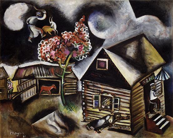Marc Chagall, Pioggia, 1911, pittura a olio e carboncino su tela, 86,7×108 cm