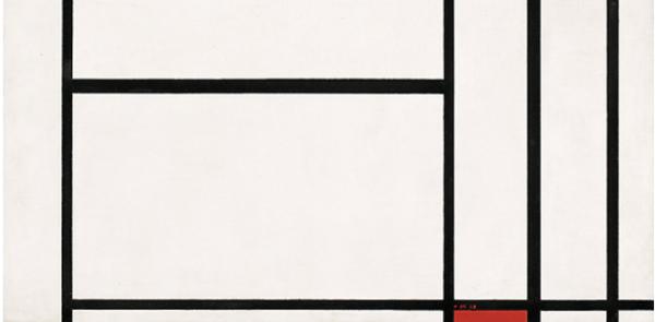 Piet Mondrian, Composizione n. 1 con grigio e rosso 1938 (dettaglio)