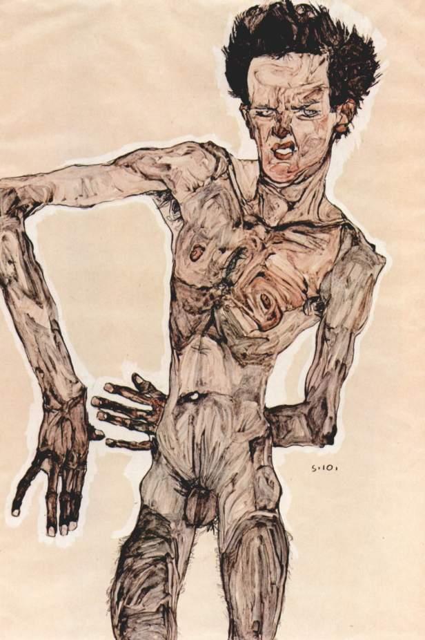 Egon Schiele, Nudo virile (Autoritratto), matita, tempera e acquerello su carta, 1910, Vienna. Albertina.