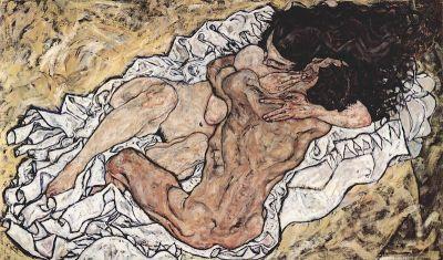 """Egon Schiele, Gli amanti (o """"L'abbraccio), 1917, Österreichische Galerie Belvedere, Vienna"""