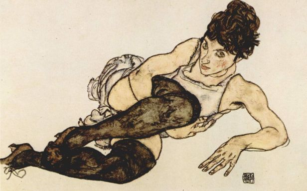 Egon Schiele, Ragazza con calze grigie, 1917