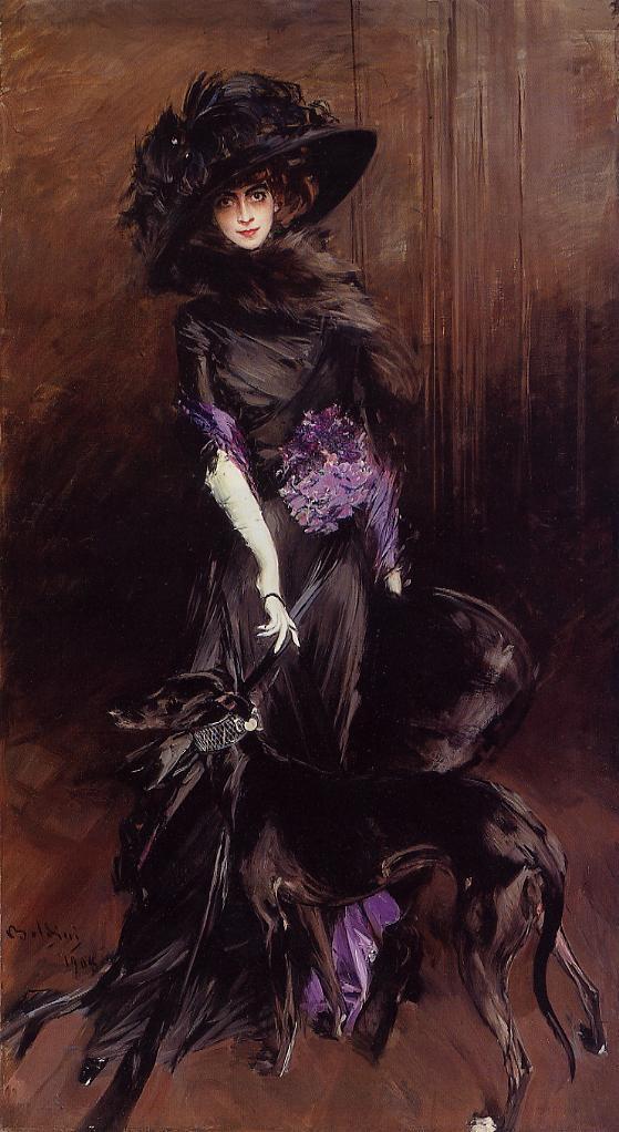 Giovanni Boldini, La marchesa Luisa Casati con un levriero (1908), olio su tela