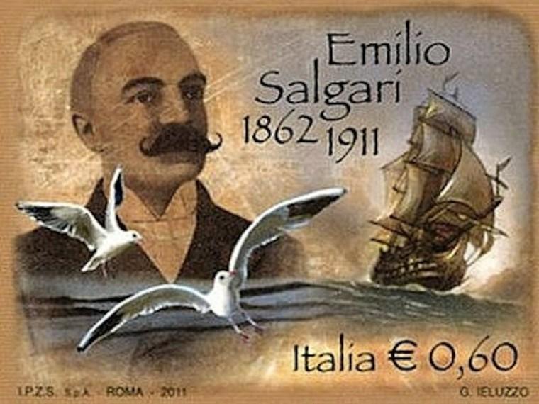 Il francobollo dedicato ad Emilio Salgari nel centenario della sua morta