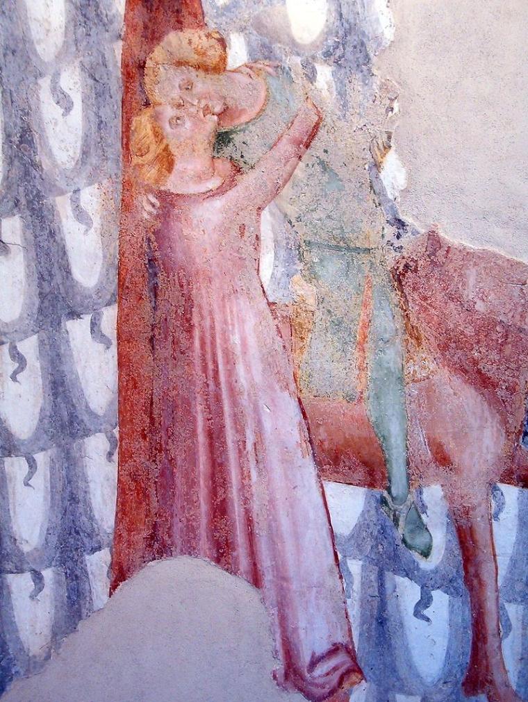 Dettaglio degli affreschi del mastio